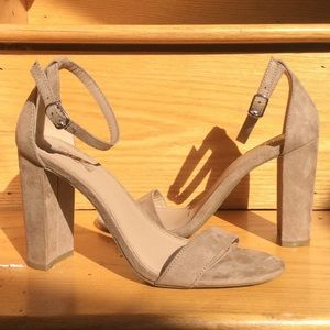 chunky nude heels with strap